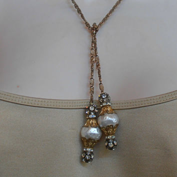 Miriam Haskell Rhinestone Baroque Pearl Lariat Necklace, Gilt Filigree