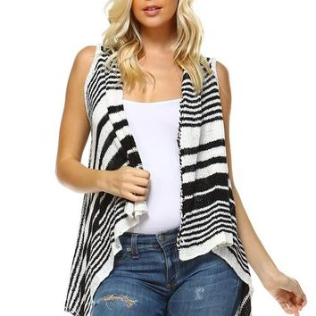 Striped Hi-Low Sleeveless Cardigan