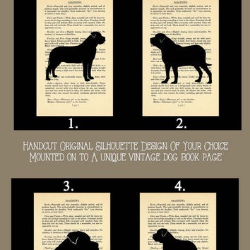 Mastiff Silhouette of Your Choice Mounted on Vintage Book Page 405 and 8x10 Black Cardstock