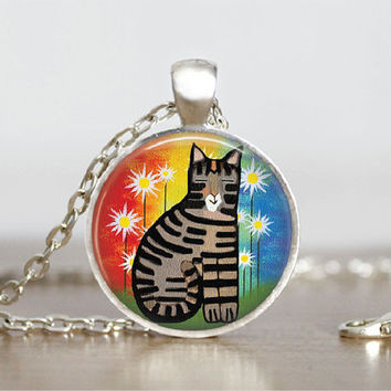 "Cat Funky Style Silver Glass Tile Pendant Necklace, Cat Animal Jewelry Pendant, 1"" Round"