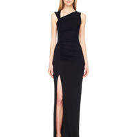 Gathered Asymmetric Jersey Gown
