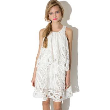White Hollowed Layered Lace A Dress