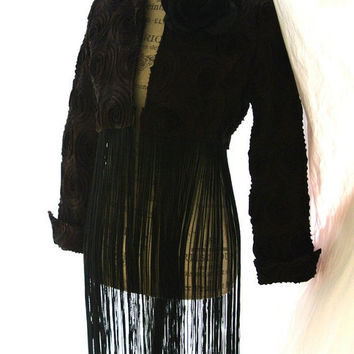 Brown boho chic fringe jacket, retro chic, fall chocolate coat, womens clothing, rustic rose, upcycled, true rebel clothing