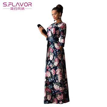 women summer dress 2017 New Fashion Print Maxi Dress Women Casual Elegant High Quality Floral Long Dresses without pockets
