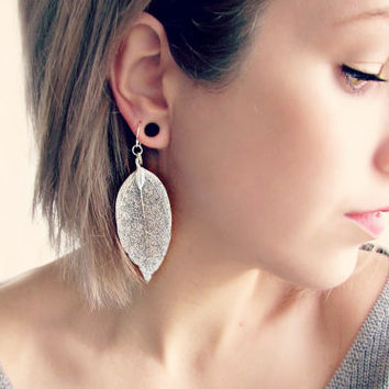 Sterling Silver Leaf Earrings| Delicate Silver Earrings with Shimmering Natural Leaves|