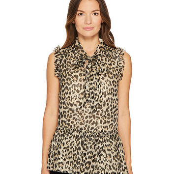 Kate Spade New York Leopard Clipped Dot Top