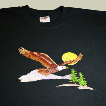 Eagle Embroidered on Men's Black Short Sleeved T-Shirt