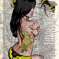 Sexy pinup girl, rockabilly tattoo pinup girl, bumblebee art, dictionary art