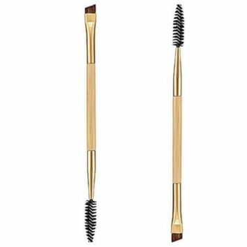 2 in 1 Makeup Tool Bamboo Handle Double Eyebrow Brush With Eyelashes Comb Brushes