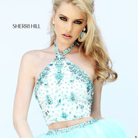 Beaded Crop Top Sherri Hill Prom Gown 32231