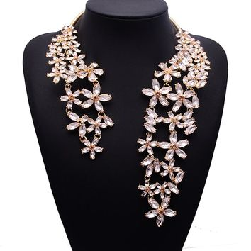 Gold Light Pink Crystal Flower Wrap Around Choker Necklace