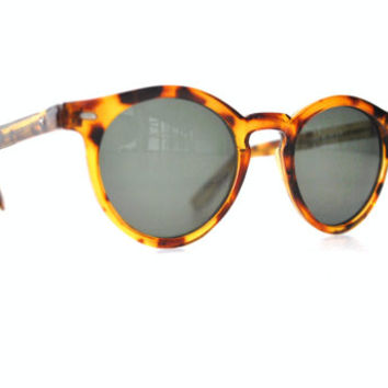 round TORTOISE shell glasses VINTAGE 1980s hipster CIRCLE sunnies sun glasses
