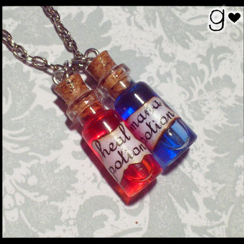 Mana & Heal Potion Bottle Necklace  Geekery by GabriellesCreations
