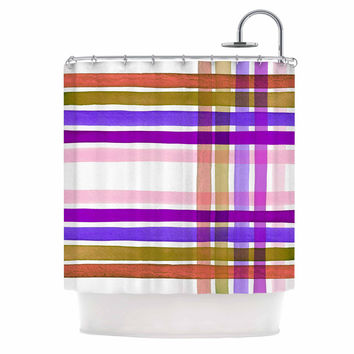 "Ebi Emporium ""Plaid Stripes In Color 6 "" Pink Purple Shower Curtain"
