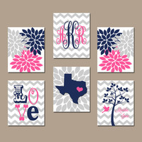 Girl Wall Art Monogram State Tree Nursery Custom Artwork Personalized Name Love Navy Blue Pink You Choose Colors Set of 6 Prints Baby Decor