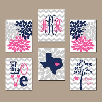 Wall Art Monogram State Tree Nursery Custom Artwork Personalized Name Love Navy Blue Pink You