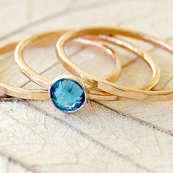 Blue Topaz Swarovski Crystal 14k Gold Fill and Sterling SIlver Stacking Rings - Set of 3 - Your Size