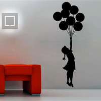 Banksy Escapism Stunning Girl with Balloons Art Vinyl Wall Sticker, Home Art Decor Removable Decal, DIY Mural! Free shipping!
