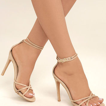 Damita Nude Suede Ankle Strap Heels
