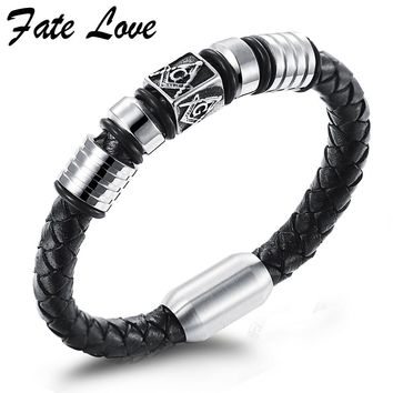 Freemason Masonic Bracelets Men Jewelry Handmade Vintage Mens Leather Bracelet 2016 Stainless Steel Magnetic Clasp Gift Pulseras