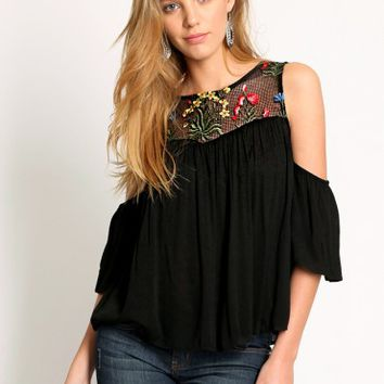 Michel Embroidered Cold Shoulder Blouse