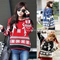 Pullover Christmas Women Geometry Deer Long Sleeve Knitted Winter sweater GT56