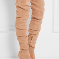 Balmain - Stretch-suede over-the-knee boots