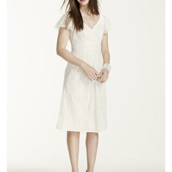 Cap Sleeve Short Lace Dress with Embellished Waist - Davids Bridal