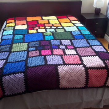 "Long Twin Sized Rainbow Squares Crochet Bedspread 58"" x 88"" granny square stained glass blanket for tall people"