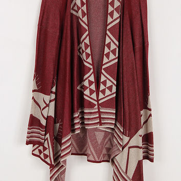 Bajee Collection Aztec Cardigan Burgundy and Beige Design