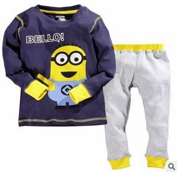 Russian style kids baby boys clothes sets Cotton long sleeves Top and pants 2 Piece small yellow people children clothing
