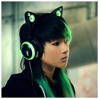 Cat Ear Headphones Green - HP-152A-BKSTGRN