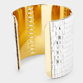 Dramatic Glass Square Crystal Cuff Bracelet