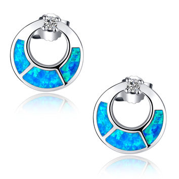 Sterling Silver Open Circle W. Blue and Green Fire Opal Stud Earrings