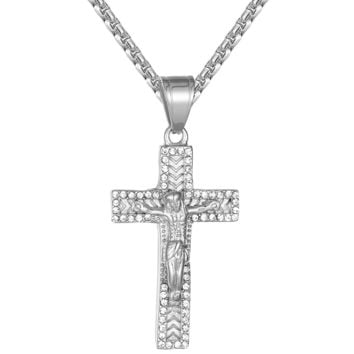 Steel Jesus Christ Cross Crucifix IcedOut Religious Pendant Chain