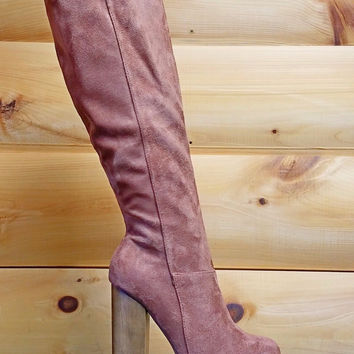 "Freedom Platform Knee Boot FX Tan Suede - 5"" Wood Block Heels"