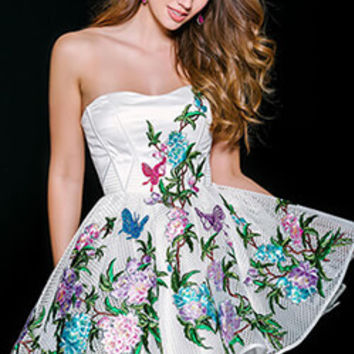 White/Multi Embroidered Homecoming Dress 41386