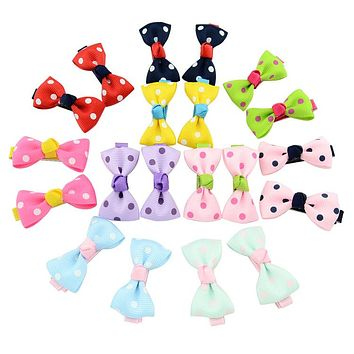 Cute Colorful 20pcs/lot Dots Bow Hair Clip Floral Candy Hairpin Plaid Barrettes Hair Accessories Headwear 601