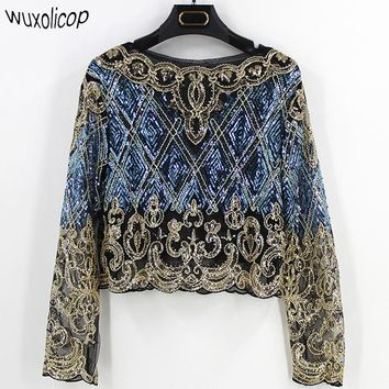 Bling Sheer Body Crop Top Lace Mesh Long Sleeve Floral Embroidery Sequin Beading Women Shirt Blouse Top