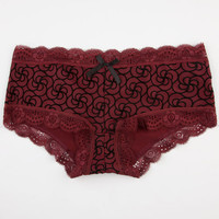 Floral Flocked Boyshorts Burgundy  In Sizes