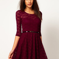 Lace Half Sleeve Belted A-Line Mini Skater Dress