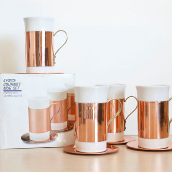 Vintage Baker, Hart & Stuart Copper and Ceramic Coffee Mugs, Solid Copper Saucers, Brass Handles, New in Box