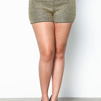 PLUS SIZE GOLD METALLIC CHAINED SHORTS