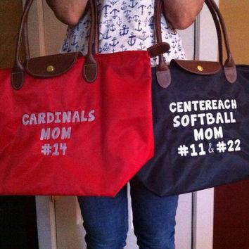 "Medium Monogrammed Sports Tote Bag - ""Longchamp"" Inspired Nylon Handbag- Makes a great"