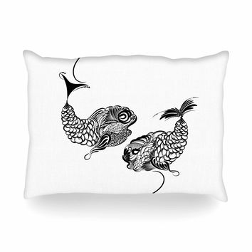 "Maria Bazarova ""Fish Horoscope, Zodiac, Pisces"" White Black Animals Art Deco Vector Illustration Oblong Pillow"