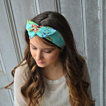 Dolly bow headband , Floral headband , Mint Head wrap
