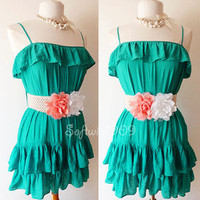 NEW Teal Green/ Peach-White-Corsage Rosette Belted Ruffle Summer Beach Sun Dress