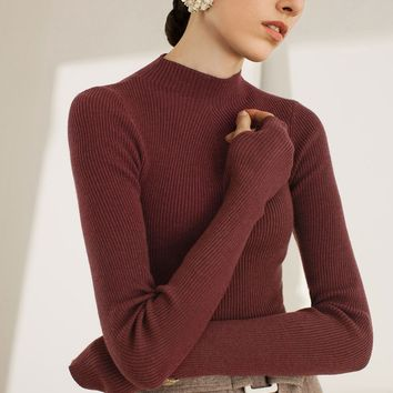 High Neck Long Sleeved Ribbed Shirt