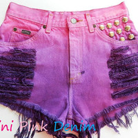 High Waist Hot Pink Purple Studded Shorts