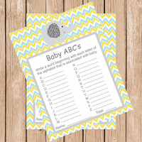 Boy Girl Baby Shower Games Instant Download Baby abcs Game Printable a-z Name Game Boy Girl Shower Blue Yellow Chevron Elephant